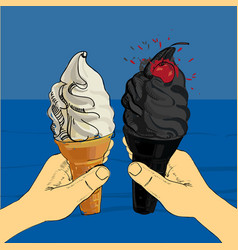 White and blackcharcoal melting ice-cream cone vector