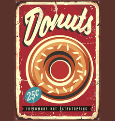 Donuts retro promotional sign vector