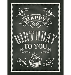 Chalkboard birthday card design background vector