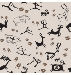 Cave painting hunters and anima vector