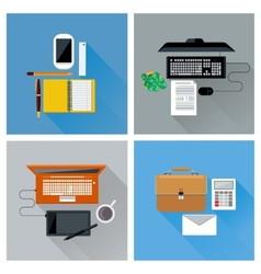 Workplace with digital devices top view icon set vector image