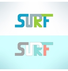 Surf colorful text design background vector