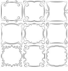 Set of nine square frames vector
