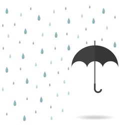 Raindrop background with black umbrella vector