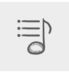 Musical note with bar sketch icon vector