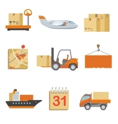 Logistics icons set in vintage flat style vector