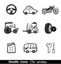 Doodles icons with cars vector image