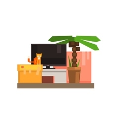 Room Interior With TV And Cat vector image