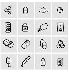 Line pills icon set vector