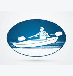 a man kayaking kayak boat kayaker graphic vect vector image