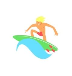 Blond guy on green surfboard vector