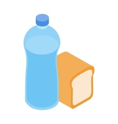 Bread and water for refugees icon isometric style vector