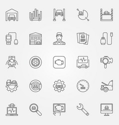 Car diagnostics icons set vector