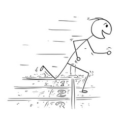 cartoon of man winning the race run vector image
