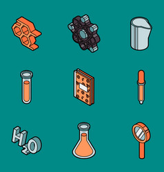 Chemical color outline isometric icons vector
