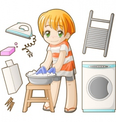 Chibi professions sets laundress vector