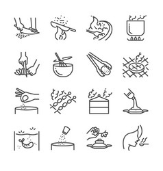 cooking line icon set vector image