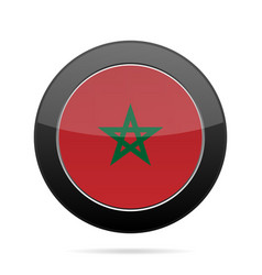 Flag of morocco shiny black round button vector