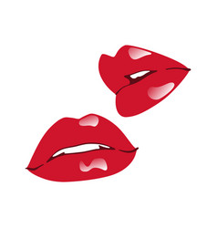 glossy red lips isolated over white background vector image vector image