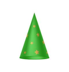 Green sorcerer hat with golden stars vector