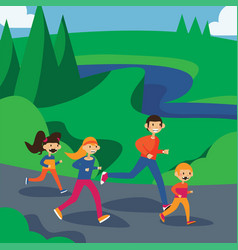 happy family running in park square cartoon vector image vector image