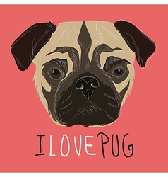 I love pug with hand drawn pug portrait vector