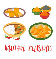 indian chicken jalfrezi with rice and vegetable vector image vector image
