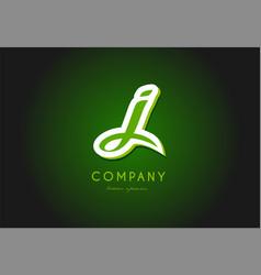 J alphabet letter logo green 3d company icon vector