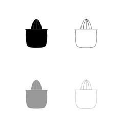 juicer squeezer black and grey set icon vector image