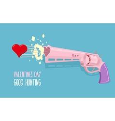 Love gun Valentines day Gun shoots at heart Good vector image