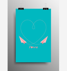 Love heart paper airplane valentines day vector