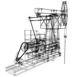 Oil pump jack rendering of 3d vector