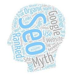 Organic seo top myths text background wordcloud vector