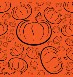 Outline pumpkins seamless pattern pumpkin vector