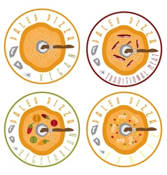 Paleo pizza concept vintage labels set vector