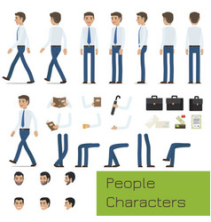 people characters create your businessman set vector image vector image
