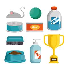 Pet shop products set icons vector