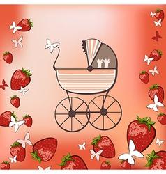pram and strawberry vector image