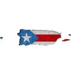 Puerto Rico map with flag inside vector image vector image