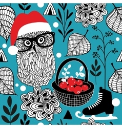 Seamless background with christmas owls and red vector