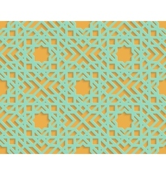 Seamless blue arabic geometric pattern on orange vector image