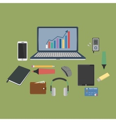 Set of business working elements for digital vector image vector image