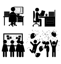 Set of flat office internal communications icons vector image vector image
