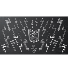 Set of hand drawn lightning vector image