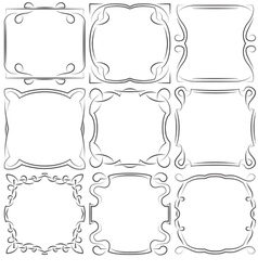 Set of nine square frames vector