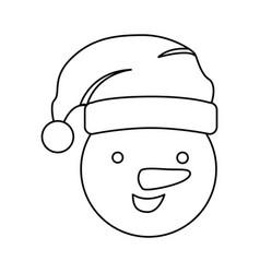 silhouette face cartoon snowman christmas design vector image vector image