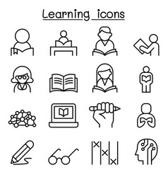study learning education icon set in thin line vector image vector image