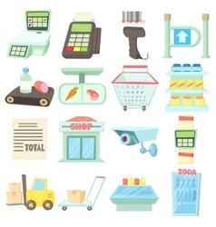Supermarket items icons set cartoon style vector image vector image