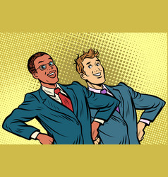 two businessmen multiracial group vector image
