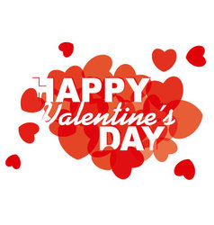 Valentines Day card design with hearts vector image